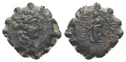Ancient Coins - Seleukid Kings, Alexander II Zabinas (128-122 BC). Æ Serrate. Apamea on the Orontes(?).  R/ Winged Tyche