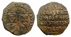 Ancient Coins - Basil I the Macedonian, with Constantine. 867-886. Æ Follis. Constantinople mint. Struck 868-870.