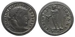 Ancient Coins - Galerius (Caesar, 293-305). Æ Follis. Thessalonica, c. 302-3. R/ Genius