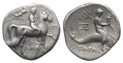 Ancient Coins - CALABRIA, Tarentum. Circa 272-240 BC. AR Nomos. Damokr(itos) and Sy-, magistrates.