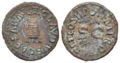 Ancient Coins - Claudius (41-54). Æ Quadrans. Rome, AD 41. Three-legged modius. R/ Large S • C.