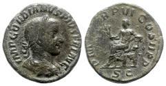 Ancient Coins - Gordian III (238-244). Æ Sestertius - Rome - R/ Apollo seated