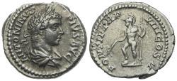 Ancient Coins - Caracalla (198-217). AR Denarius. Rome, AD 205. R/ Helmeted Mars standing