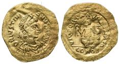 Ancient Coins - Justinian I (527-565). AV Tremissis. Constantinople.  R/ Victory