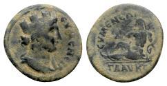 Ancient Coins - Phrygia. Eumeneia. Pseudo-autonomous issue, c. 2nd century AD. Æ - Tyche / River-god Glaukos