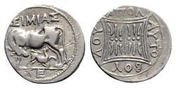 Ancient Coins - Illyria, Apollonia, c. 229-100 BC. AR Drachm - Simias and Autoboulos, magistrates