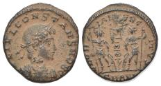 Ancient Coins - Constans (Caesar, 335-337). Æ 15mm. Antioch, AD 335. R/ Two soldiers
