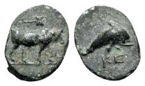 Ancient Coins - Caria, Keramos, c. 4th century BC. Æ - Bull / Dolphin - RARE