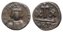 Ancient Coins - Constans II (641-668). Æ 20 Nummi Half Follis. Carthage, 642-647.  R/ Large XX SCARCE