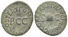 Ancient Coins - Gaius (Caligula, 37-41). Æ Quadrans. Rome, 40-1. PILEUS. R/ Large RCC