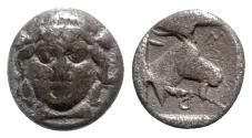 Ancient Coins - Aeolis, Myrina, 4th century BC. AR Obol - Facing female head / Goat head - RARE