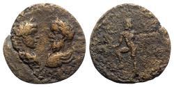 Ancient Coins - Septimius Severus with Caracalla (193-211). Phoenicia, Berytus. Æ - R/ Poseidon