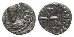 Ancient Coins - Justinian I (527-565). Æ Nummus. Rome, c. 552-565. R/ Cruciform monogram RARE