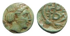 Ancient Coins - Troas, Zeleia, c. 4th century BC. Æ - Artemis / Monogram or torque