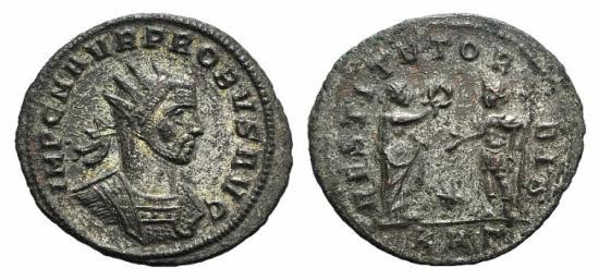 Ancient Coins - PROBUS. 276-282 AD. Antoninianus. Serdica mint / Victory standing right, presenting wreath to emperor