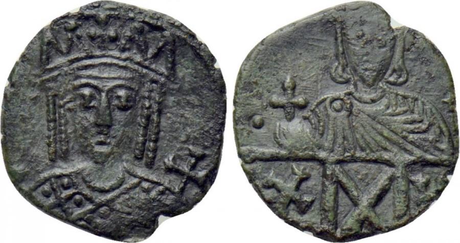 Ancient Coins - Constantine VI & Irene. 780-797. Æ Follis NICE !