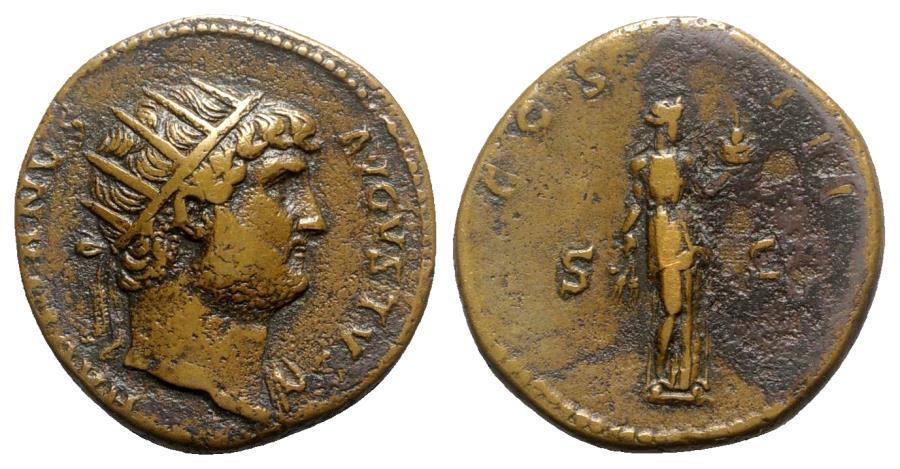 Ancient Coins - Hadrian (117-138). Æ Dupondius - Rome - R/ Fides