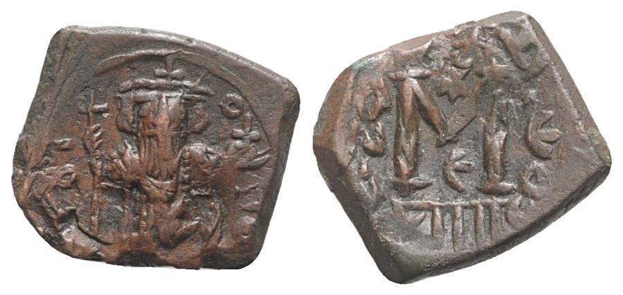Ancient Coins - Constans II (641-668). Æ 40 Nummi. Constantinople, year 14 (654/5).