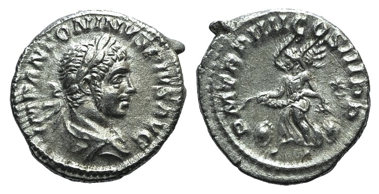 Ancient Coins - Elagabalus (218-222). AR Denarius. Rome, 221.  R/ Victory