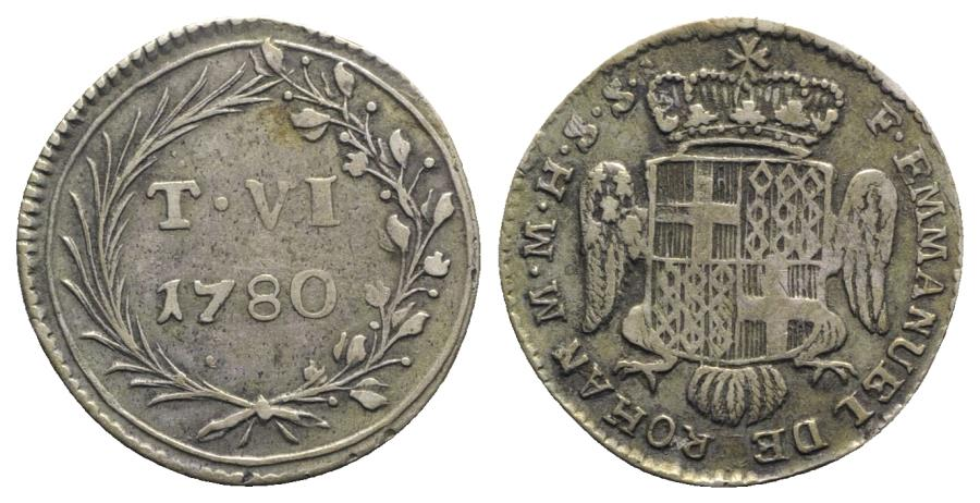 World Coins - Malta, Emmanuel de Rohan (1775-1797). AR 6 Tarì 1780. Crowned shield above headless eagle. R/ T VI / 1780