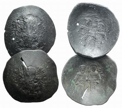 Ancient Coins - Lot of two BI Aspron Trachy of Alexius III (1195-1204)