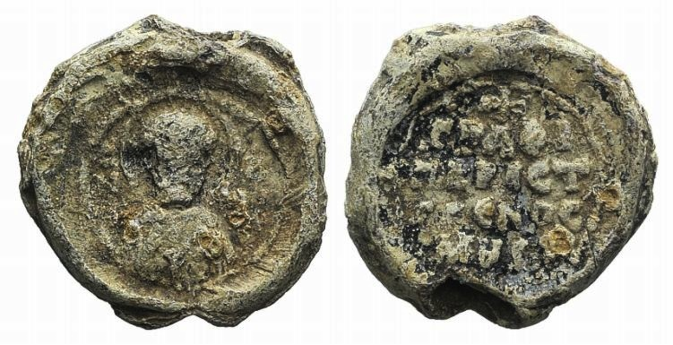 Ancient Coins - Byzantine Pb Seal, c. 7th-12th century. Nimbate bust facing.