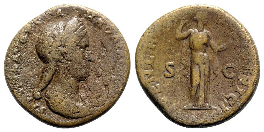 Ancient Coins - Sabina (Augusta, 128-136/7). Æ Sestertius - R/ Venus