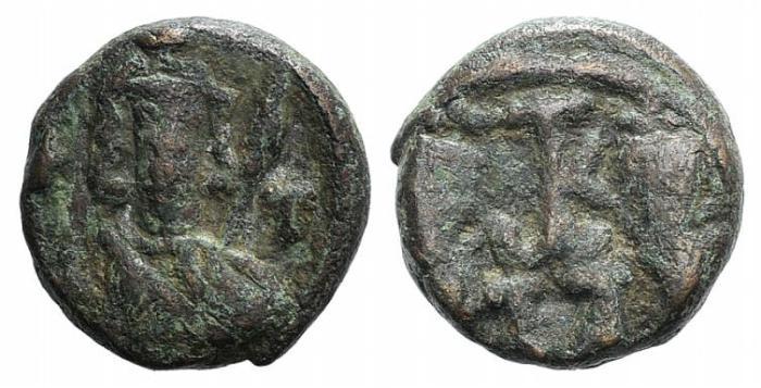 Ancient Coins - Constantine IV, Heraclius and Tiberius (668-685). Æ 40 Nummi