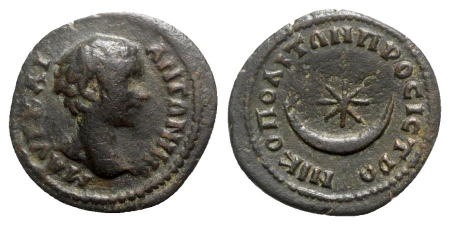 Ancient Coins - Caracalla (Caesar, 196-198). Moesia Inferior, Nicopolis ad Istrum. Æ - R/ Crescent and star