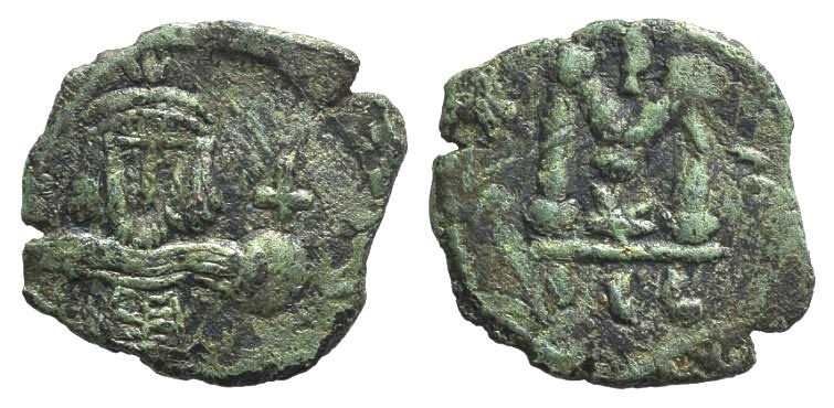 Ancient Coins - Justinian II (First reign, 685-695). AE 40 Nummi. Syracuse, 687-689.