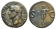 Ancient Coins - AGRIPPA. Died 12 BC. Æ As. Struck under Caligula, 37-41 AD. R/ NEPTUNE