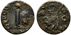 Ancient Coins - Nero (54-68). Æ Quadrans. Rome, AD 65. Helmet on column  R/ Branch
