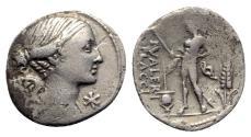 Ancient Coins - L. Valerius Flaccus, Rome, 108-107 BC. AR Denarius
