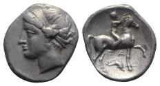 Ancient Coins - ITALY. Southern Apulia, Tarentum, Campano-Tarentine series, c. 281-272 BC. AR Didrachm