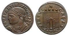 Ancient Coins - Constantine II (Caesar, 316-337). Æ Follis - Arelate - R/ Camp gate