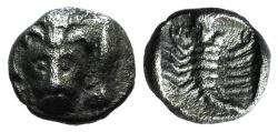 Ancient Coins - Caria, Mylasa(?), c. 450-400 BC. AR Obol. R/ Scorpion