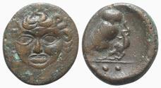 Ancient Coins - Sicily, Kamarina, c. 420-405 BC. Æ Tetras. Gorgoneion / Owl