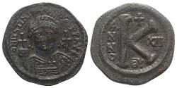Ancient Coins - Justinian I. 527-565. Æ Half Follis. Theoupolis (Antioch) mint. Dated RY 13 (539/40).