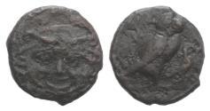 Ancient Coins - Sicily, Kamarina, c. 420-405 BC. Æ Onkia 11mm  R/ OWL