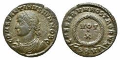 Ancient Coins - Constantine II (Caesar, 316-337). Æ Follis. Thessalonica, AD 324.  R/ VOT/•/X
