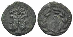 Ancient Coins - Sicily, Uncertain Roman mint, late 2nd century BC. Æ As. Laureate and bearded head of Janus. R/ Monogram within laurel-wreath.