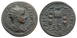 Ancient Coins - Philip II (247-249). Pisidia, Antioch. Æ - R/ Three standards