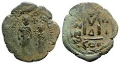 Ancient Coins - Heraclius with Heraclius Constantine (610-641). Æ 40 Nummi - Constantinople, year 3
