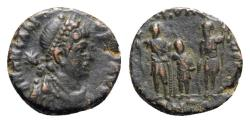 Ancient Coins - Arcadius (383-408). Æ - Antioch - R/ Three emperors