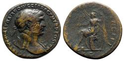 Ancient Coins - Trajan (98-117). Æ Sestertius - Rome - R/ Roma seated