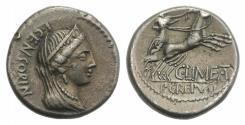 Ancient Coins - ROME REPUBLIC L. Censorinus, with P. Crepusius and C. Limetanus. 82 BC. AR Denarius