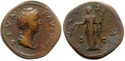 Ancient Coins - Diva Faustina Senior (died AD 140/1). Æ Sestertius - Rome - R/ Ceres