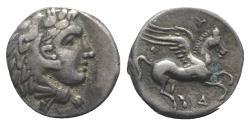 Ancient Coins - Illyria, Dyrrhachion, c. 344-300 BC. AR Drachm. Head of Herakles  R/ PEGASOS
