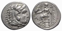 Ancient Coins - Kings of Macedon, Alexander III 'the Great' (336-323 BC). AR Drachm. Miletos, c. 325-3 BC.