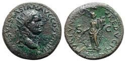 Ancient Coins - Vespasian (69-79). Æ Dupondius - Lugdunum - R/ Fortuna